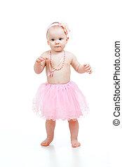 fundo, isolado, passos, bonito, bebê, branca, primeiro
