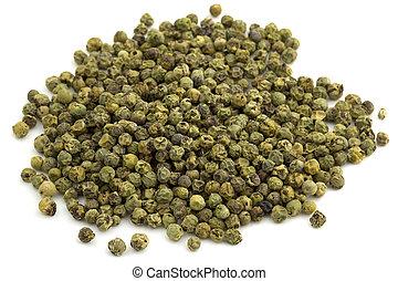 fundo, isolado, peppercorns, verde, montão, branca