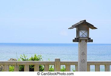 fundo, japoneses, mar, templo