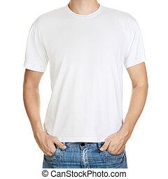 fundo, jovem, isolado, t-shirt, modelo, branca, homem