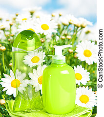 fundo, líquido, natureza, garrafa plástico, sabonetes