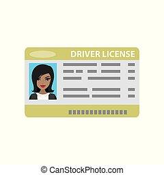 fundo, licença, motorista, foto, femininas, branca