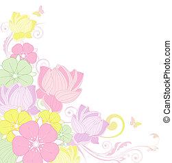fundo, loto, floral