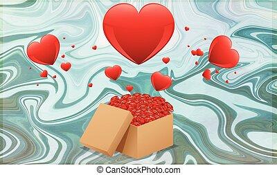 fundo, mármore, caixa presente, cheio, corações