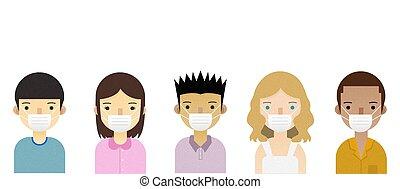 fundo, máscara, branca, pessoas