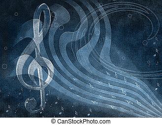fundo, música, com, notas