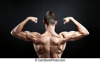 fundo, macho, pretas, costas,  Muscular