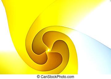 fundo, macro, imagem, de, um, padrão, feito, de, curvado, folhas papel, em, amarela, .