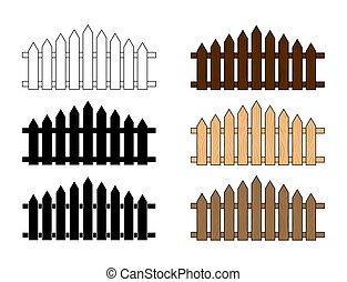 fundo, madeira, isolado, cerca branca, set., desenho, ...
