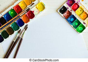 fundo, madeira, pintar escova, aquarelas, branca