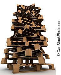fundo, madeira, sobre, pallets, torre branca