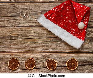 fundo, mandarines, frame., topo, vista., chapéu, feriado christmas, tabela., configuração, inverno, espaço cópia, madeira, apartamento