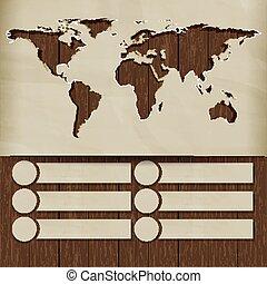 fundo, mapa mundial, esculpido, em, a, papel, ligado, placas madeira