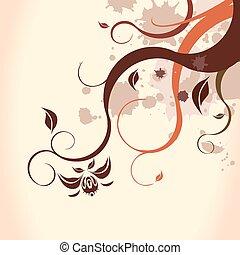 fundo, marrom, floral