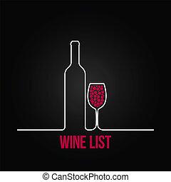 fundo, menu, lista, vidro, desenho, garrafa, vinho