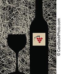 fundo, menu, modernos, garrafa copo, vinho