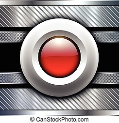 fundo, metálico, com, botão vermelho