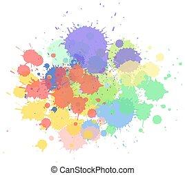fundo, misturado, branca, aquarela, respingo, cores