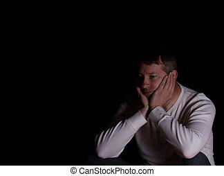 fundo, mostrando, escuro, maduras, depressão, homem