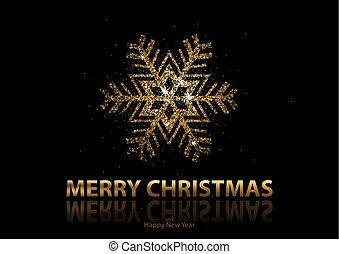 fundo, natal, ouro, snowflake