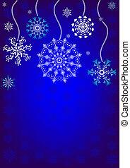 fundo, natal, (vector), snowflakes