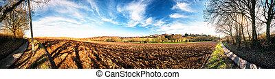 fundo, natureza, panorâmico, field., ploughed, agrícola, paisagem