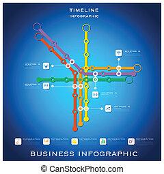 fundo, negócio, timeline, rota, infographic, desenho, modelo