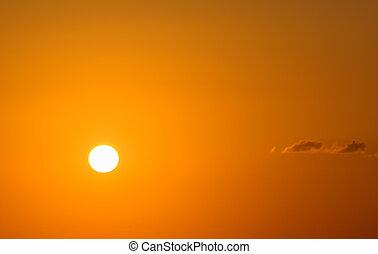 fundo, ocaso dourado, skyscape