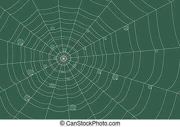 fundo, orvalho, grade, cobweb, verde, concêntrico