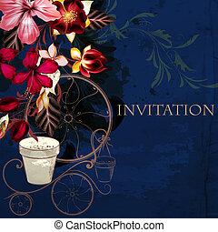 fundo, ou, ilustração, com, hibisco, flores, em, estilo retro