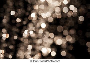 fundo, ouro, festivo, elegante, luzes, abstratos, experiência., bokeh, defocused, estrelas, natal