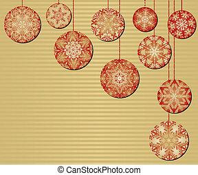 fundo, ouro, ornamentos natal, snowflake, vermelho
