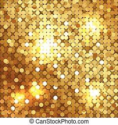 fundo, ouro, sequins