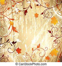 fundo, outono, madeira