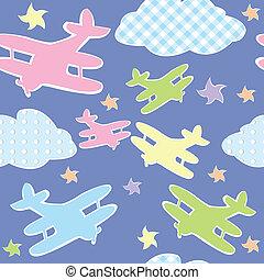 fundo, para, crianças, com, brinquedo, aviões