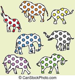 fundo, para, crianças, com, pontilhado, elefantes