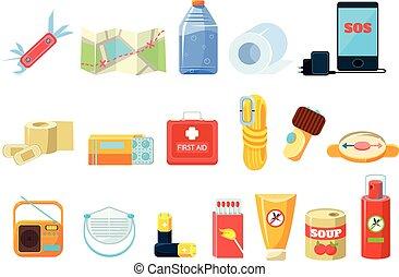 fundo, partidas, repelente, água, necessidades, viagem, ilustrações, branca, sett, alimento, bateria, equipamento, compasso, telefone, rádio, caixa, enlatado, mapa, vetorial, corda, garrafa, ajuda, primeiro