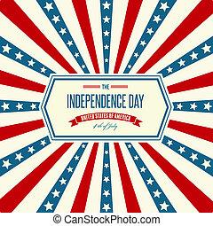 fundo, patriótico, dia independência, americano