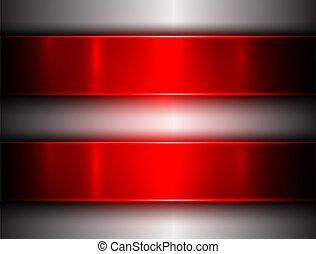 fundo, prata, vermelho, metálico
