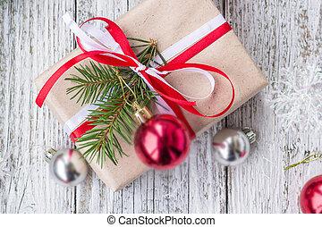 fundo, presente, madeira, caixas, tábua, decorações, christmas branco
