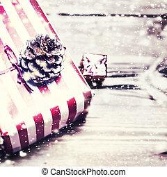 fundo, presente, madeira, cima, space., caixas, decorações, tábua, feliz, fim, cópia, cartão natal