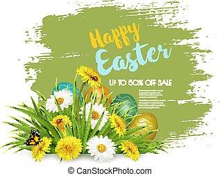 fundo, primavera, ovos, venda, flowers., verde, vector., capim, páscoa, colofrul