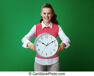 fundo, relógio, mostrando, isolado, verde, estudante, branca, redondo