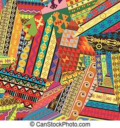 fundo, remendos, ornamentos, étnico