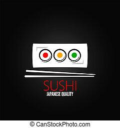 fundo, rolo, prato, sushi, menu, desenho
