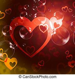 fundo, romance, meios, corações, amor, paixão
