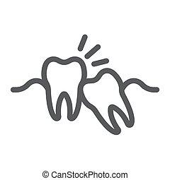 fundo, sabedoria, 10., linear, impactou, stomatology, sinal, eps, vetorial, padrão, dentes, gráficos, ícone, linha, dente, branca, dental