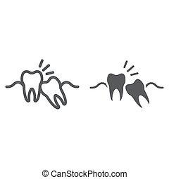 fundo, sabedoria, 10., linear, impactou, stomatology, sinal, eps, vetorial, padrão, dentes, gráficos, ícone, linha, dente, branca, dental, glyph