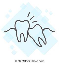 fundo, sabedoria, 10., linear, impactou, stomatology, sinal, eps, vetorial, padrão, magra, dentes, gráficos, ícone, linha, dente, branca, dental