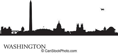 fundo, skyline, cidade, silhueta washington